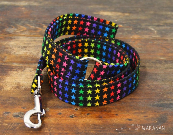 Leash for dog Superstar. Handmade with 100% cotton fabric and webbing. Two width available. Wakakan