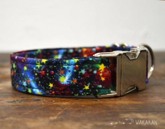 Milky Way dog collar. Adjustable and handmade with 100% cotton fabric. Galaxy design, stars Wakakan