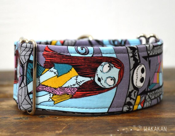 Martingale dog collar model Eternal Love Sally. Adjustable and handmade with 100% cotton fabric. Halloween. Wakakan