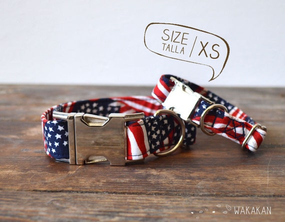 American Heartbeat dog collar adjustable. Handmade with 100% cotton fabric. American flag USA. Wakakan
