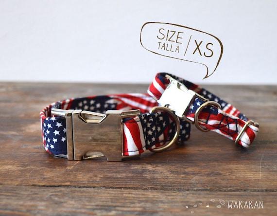 American Heartbeat dog collar adjustable. Handmade with 100% cotton fabric. American flag USA. Wakakan