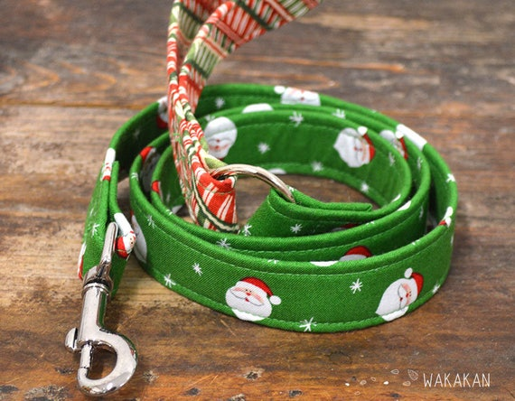 Leash for dog model Santa's. Handmade with 100% cotton fabric and webbing.  Wakakan