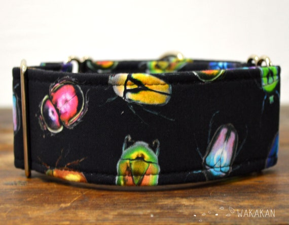 Martingale dog collar model Beetle Bug. Adjustable and handmade with 100% cotton fabric. Bug, colorful. Wakakan