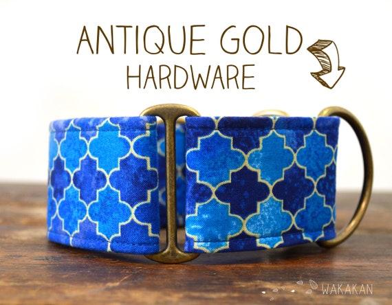 Martingale dog collar model Moroccan. Adjustable and handmade with 100% cotton fabric. Blue tiles Wakakan