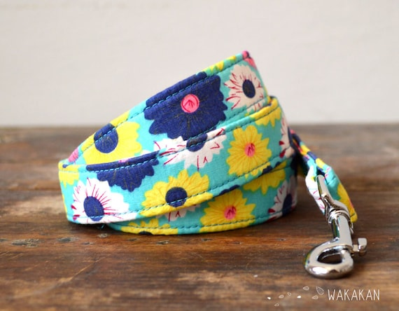 Leash for dog model Summer. Handmade with 100% cotton fabric and webbing. Two width available. Wakakan