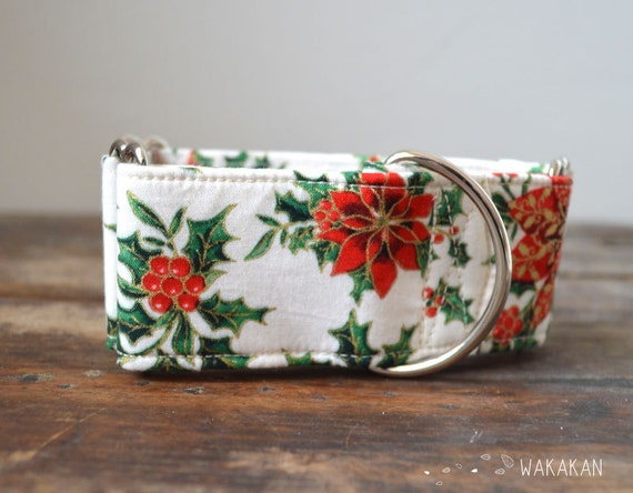 Martingale dog collar model Poinsettia, Christmas flower. Adjustable and handmade with 100% cotton fabric. Halloween Wakakan