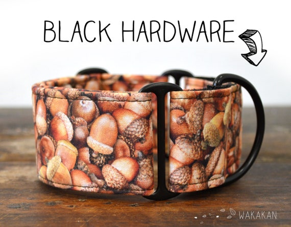 Martingale dog collar Acorns. Adjustable and handmade with 100% cotton fabric. Squirrels. Wakakan