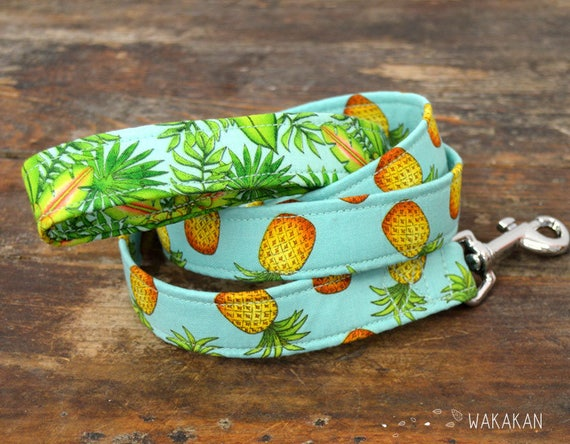 Leash for dog Pineapple. Handmade with 100% cotton fabric and webbing. Two width available. Wakakan
