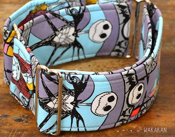Martingale dog collar model Eternal Love Jack. Adjustable and handmade with 100% cotton fabric. Halloween. Wakakan