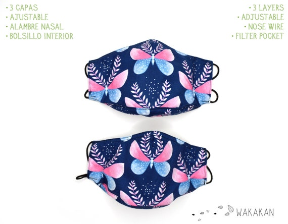 Moth face mask handmade. 3 layers, outer cotton fabric, 2 inner layers of certified microfiber fabric. Pocket, Washable. Wakakan