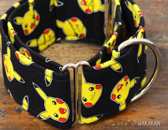 Martingale dog collar model Pikachu Mood. Adjustable and handmade with 100% cotton fabric. pokemon Wakakan