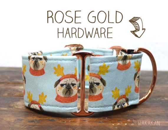 Martingale dog collar model Grumpy Xmas Dog. Adjustable and handmade with 100% cotton fabric. Cute Dog Wakakan