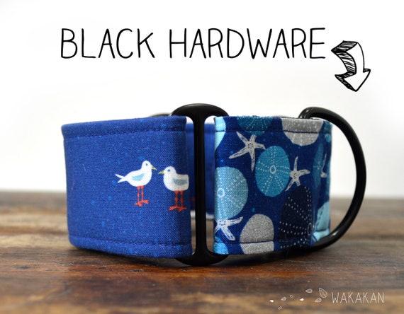 Martingale dog collar model Blue Coast. Adjustable and handmade with 100% cotton fabric. Seagull, summer, starfish Wakakan