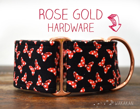 Martingale dog collar model Minnie Ribbons. Adjustable and handmade with 100% cotton fabric. Minnie Mouse Wakakan