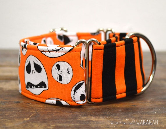 Martingale dog collar model This is Halloween Orange. Adjustable and handmade with 100% cotton fabric. Nightmare before Xmas. Wakakan