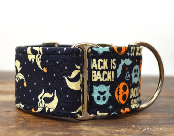 Martingale dog collar model Zero. Nightmare before Xmas. Adjustable and handmade with 100% cotton fabric. Blue bgWakakan