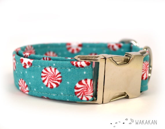 Xmas Mints dog collar. Adjustable and handmade with 100% cotton fabric. Winter candies bg turquoise super sweet. Wakakan