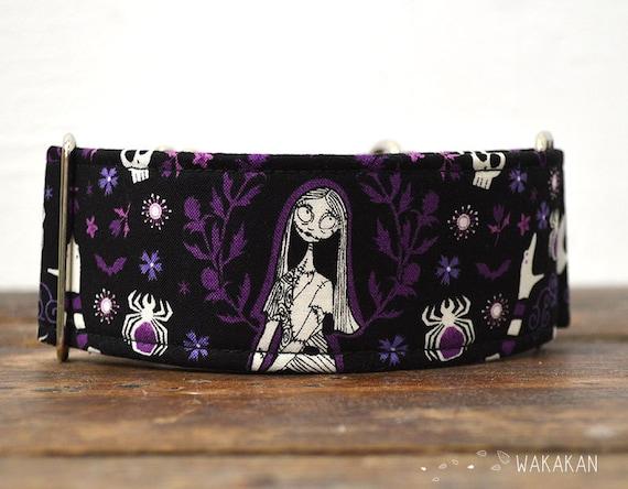 Martingale dog collar model Sweet Sally. Adjustable and handmade with 100% cotton fabric. Halloween. Wakakan