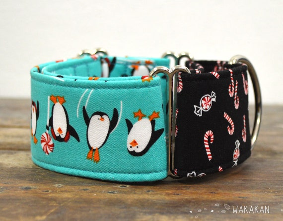 Martingale dog collar model  Xmas Penguins. Adjustable and handmade with 100% cotton fabric. Christmas winter style. Wakakan