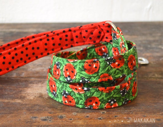 Leash for dog model Ladybug. Handmade with 100% cotton fabric and webbing. Two width available. Wakakan