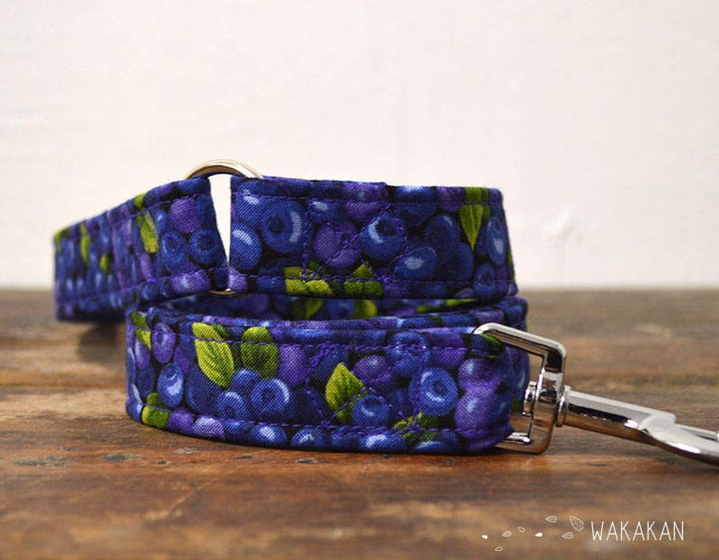 Leash for dog Blueberries. Handmade with 100% cotton fabric image 0