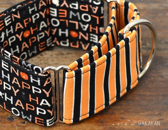 Martingale dog collar model Happy Halloween. Glow in the dark! Adjustable and handmade with 100% cotton fabric. Pumkin Wakakan