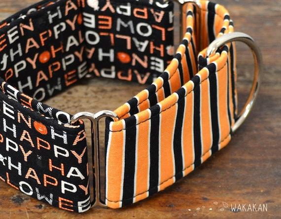 Martingale dog collar model Happy Halloween. Glow in the dark! Adjustable and handmade with 100% cotton fabric. Pumkin Wakakan