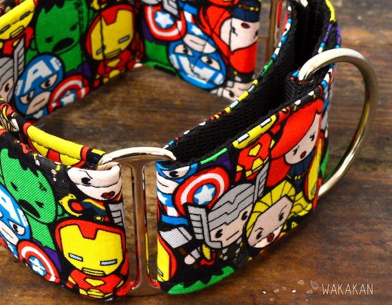 Martingale dog collar model Superheroes. Adjustable and handmade with 100% cotton fabric.  Wakakan