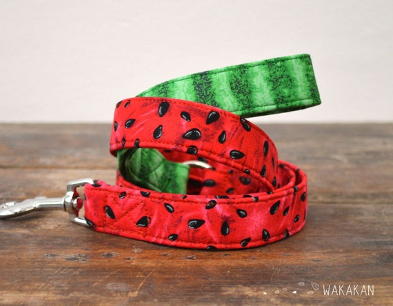 Leash for dog Watermelon. Handmade with 100% cotton fabric and webbing. Two width available. Wakakan