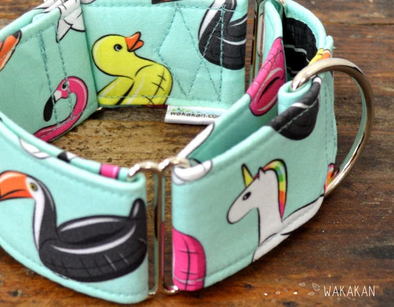 Martingale dog collar model On the Beach. Adjustable and handmade with 100% cotton fabric. unicorns flamingos. Wakakan
