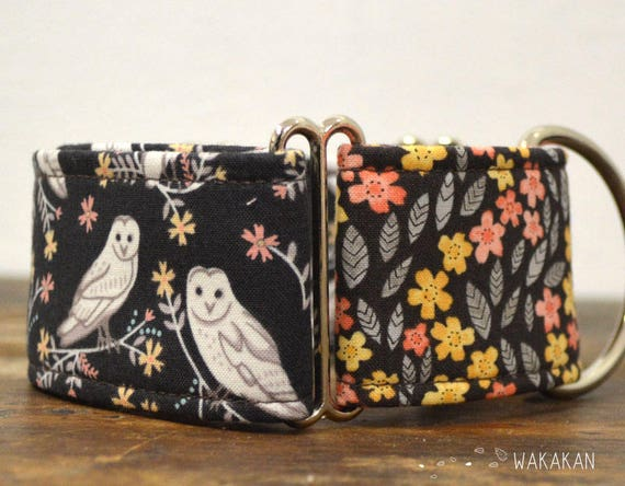 Martingale dog collar model Owls. Adjustable and handmade with 100% cotton fabric. Brown color. Wakakan