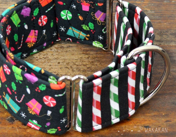 Martingale dog collar model Presents for Xmas. Adjustable and handmade with 100% cotton fabric. winter Wakakan