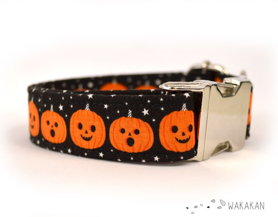 Sweet Halloween dog collar adjustable. Handmade with 100% cotton fabric. Pumpkin, stars, Jack O'Lantern Wakakan