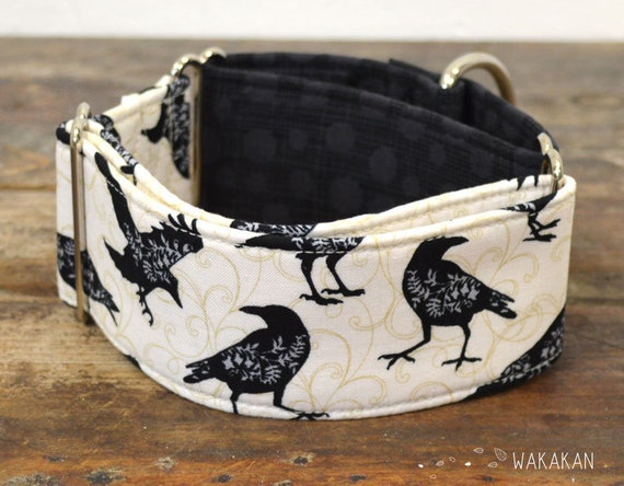 Martingale dog collar model Nevermore. Adjustable and handmade with 100% cotton fabric. Crow, rave, Allan Poe style, Wakakan