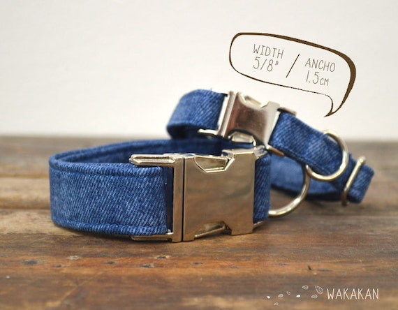 Denim dog collar. Adjustable and handmade with 100% cotton fabric. Western style. Wakakan