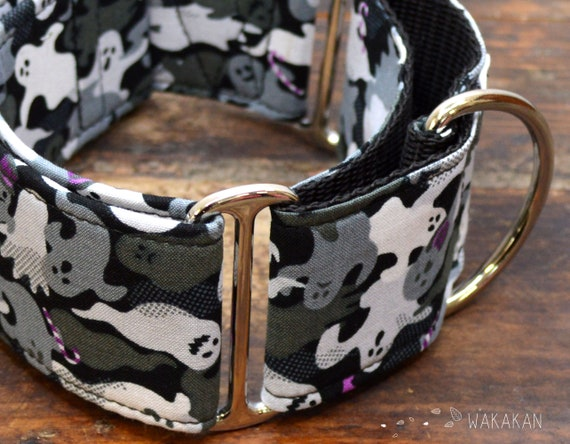 Martingale dog collar model Ghosts. Adjustable and handmade with 100% cotton fabric. Halloween Style. Wakakan