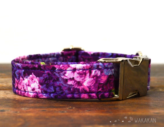 Harmony dog collar. Adjustable and handmade with 100% cotton fabric. hydrangea, purple Wakakan