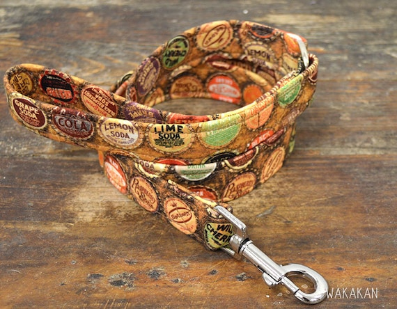 Leash for dog model Soda. Handmade with 100% cotton fabric and webbing. Two width available. Wakakan