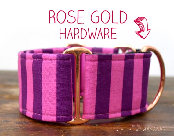 Martingale dog collar model Circus Pink. Adjustable and handmade with 100% cotton fabric. Purple and pink stripes, halloween. Wakakan