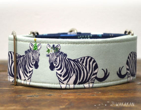 Martingale dog collar model Let's Zebra. Adjustable and handmade with 100% cotton fabric. Zebra party, funny design, Wakakan