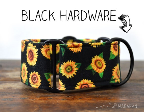 Martingale dog collar model Sunflowers. Adjustable and handmade with 100% cotton fabric. Van gogh flowers Wakakan