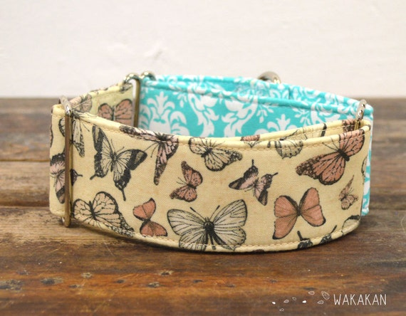 Martingale dog collar model Old Fashioned. Adjustable and handmade with 100% cotton fabric. Valentine's Day Butterflies  Wakakan