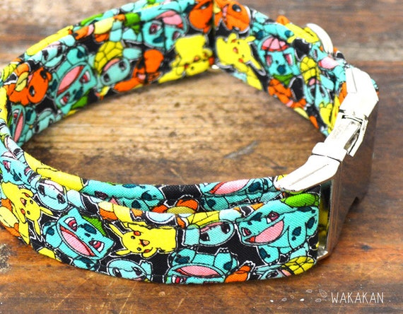 Pokémon Friends dog collar. Adjustable and handmade with 100% cotton fabric. Retro design Wakakan