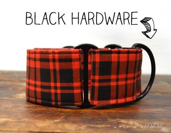 Martingale dog collar model Red Plaid. Adjustable and handmade with 100% cotton fabric. hipster. Wakakan