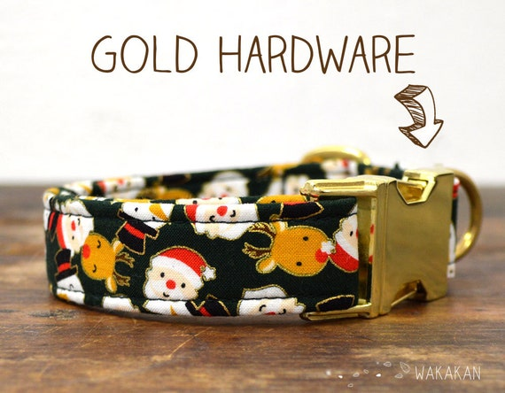 Sweet Xmas dog collar. Adjustable and handmade with 100% cotton fabric. Santas, reindeer. Wakakan
