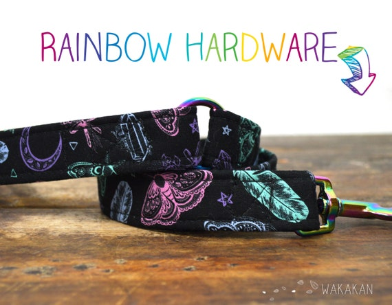 Leash for dog model Witchcraft Colors. Handmade with 100% cotton fabric and webbing. Two width available. Wakakan
