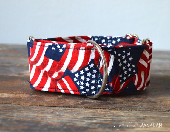 Martingale dog collar model American Heartbeat. Adjustable and handmade with 100% cotton fabric. Hippie peace and loveWakakan