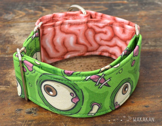Martingale dog collar model Zombie. Adjustable and handmade with 100% cotton fabric. Brain, day of the dead. Wakakan