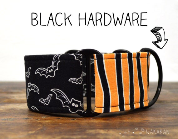 Martingale dog collar model Halloweeny. Adjustable and handmade with 100% cotton fabric. Halloween, bats Glow in the dark Wakakan
