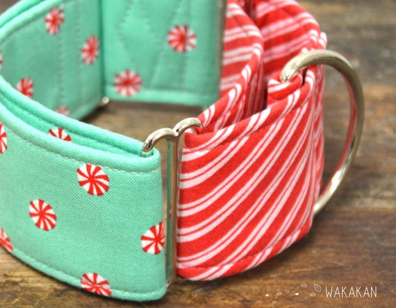 Martingale dog collar model Xmas Mints. Adjustable and handmade with 100% cotton fabric. Xmas style, winter, candy, Wakakan